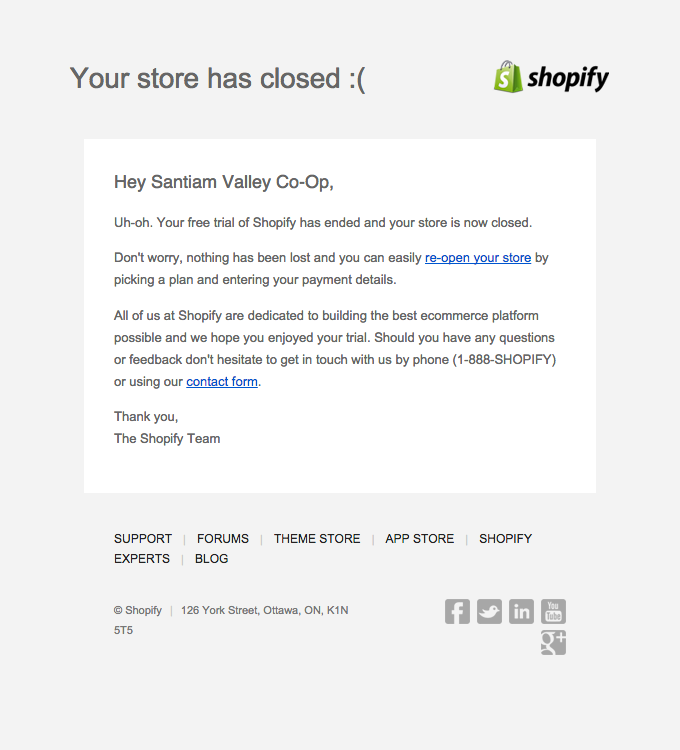Your Online Store Has Closed