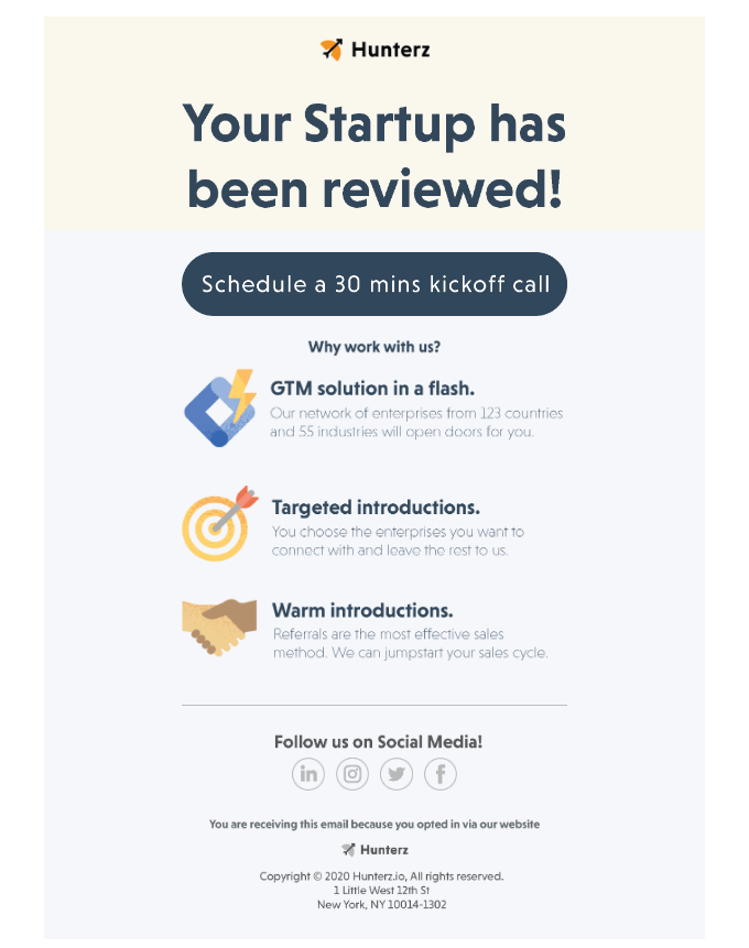 Your Startup has been reviewed!
