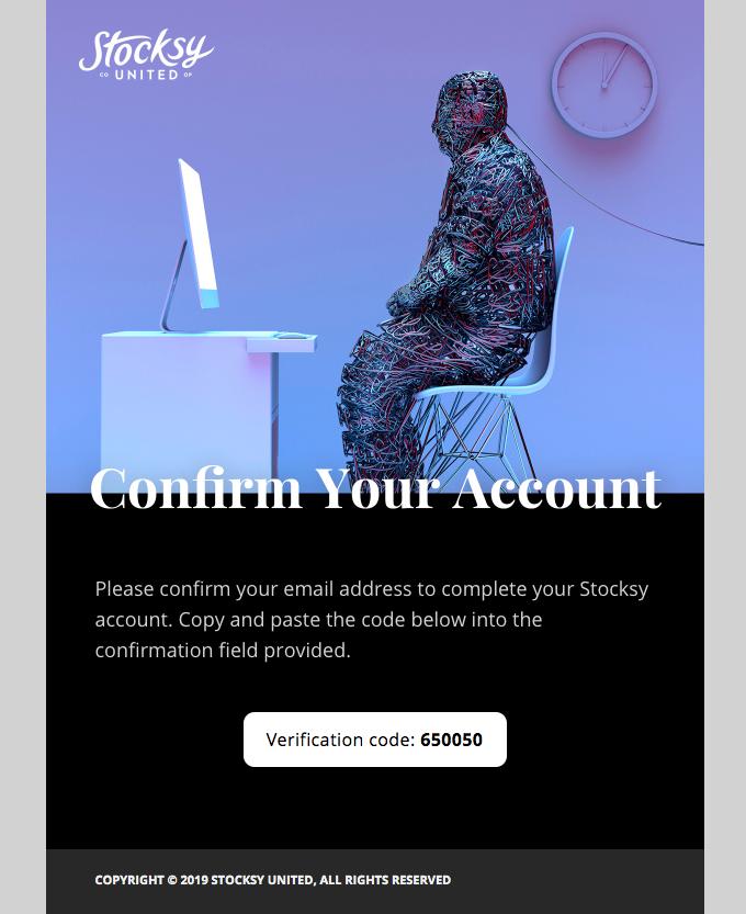Your Stocksy United verification code.
