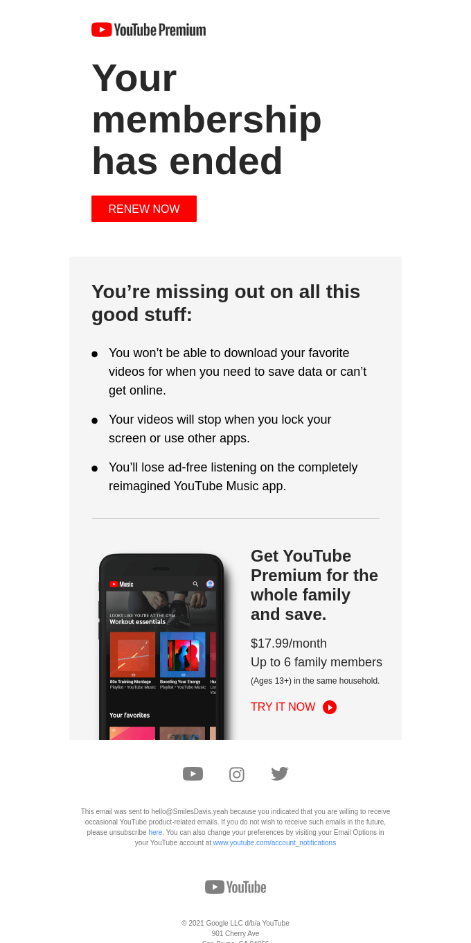 Your YouTube Premium membership has ended.