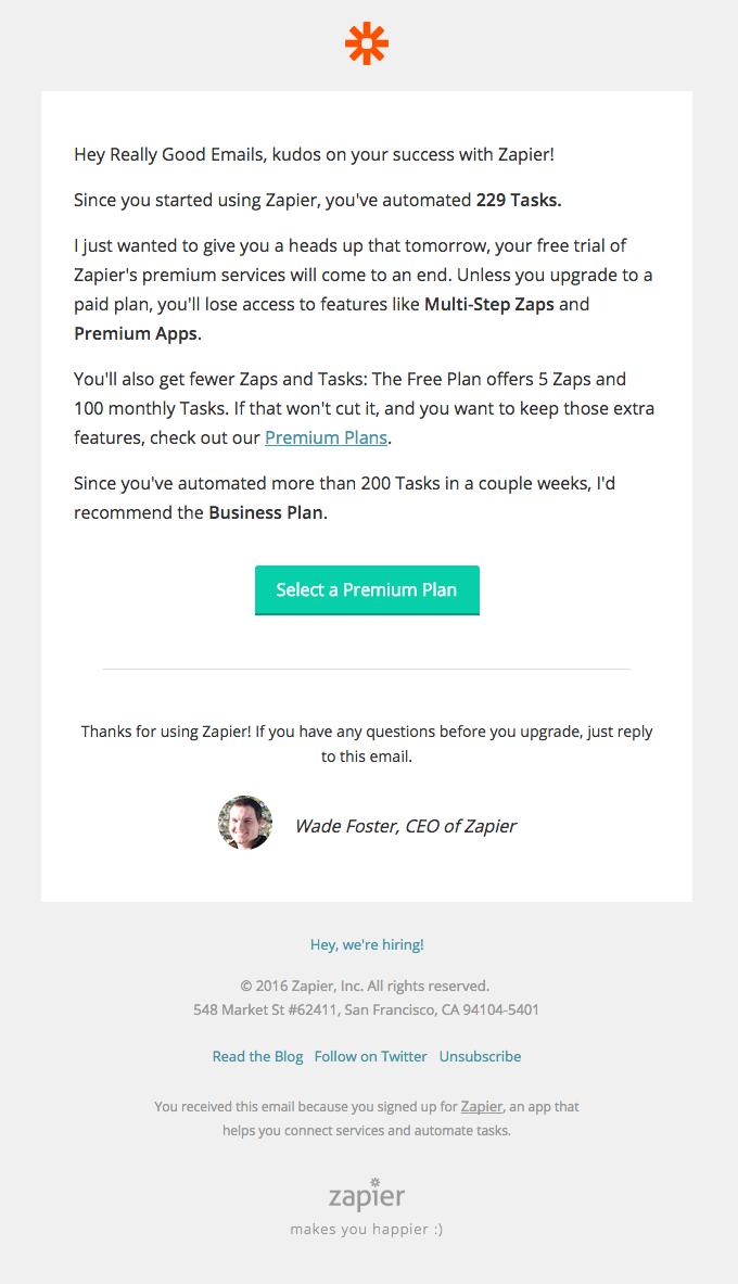Your Zapier Premium trial ends tomorrow