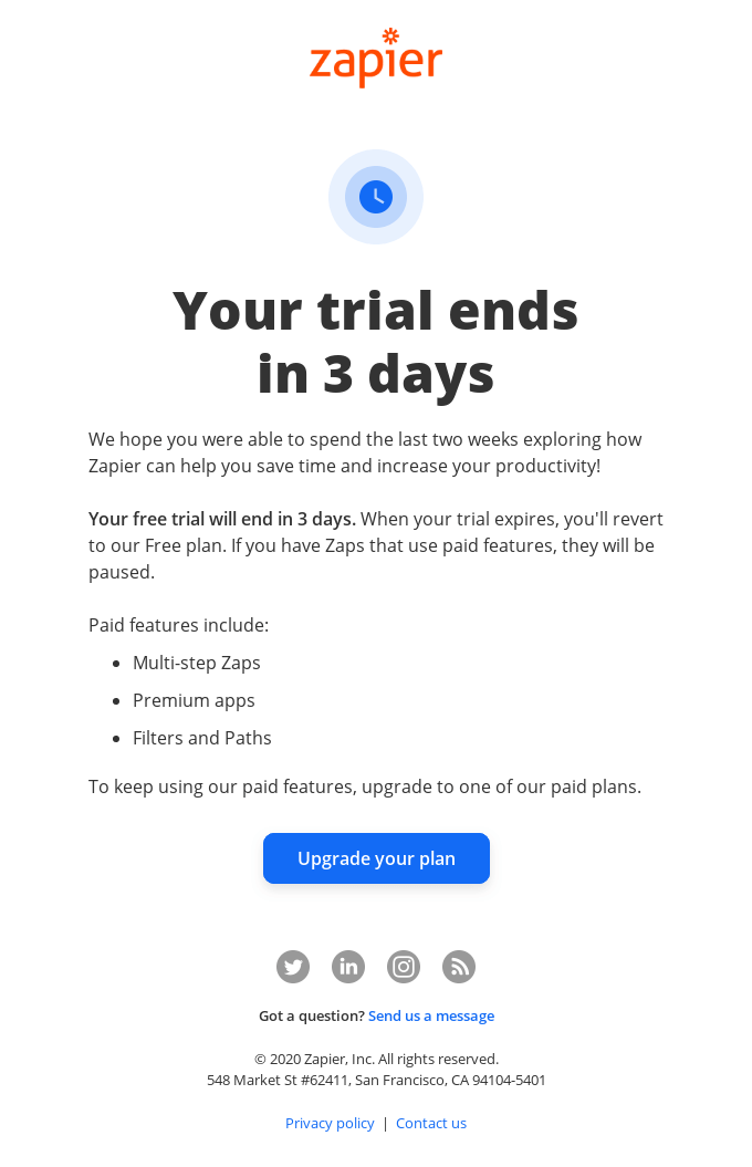 Your Zapier trial ends in 3 days