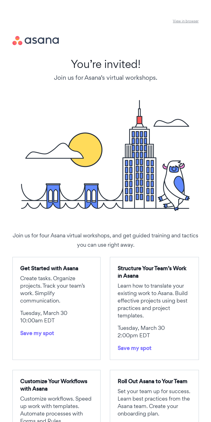 You're invited to Asana's virtual workshops
